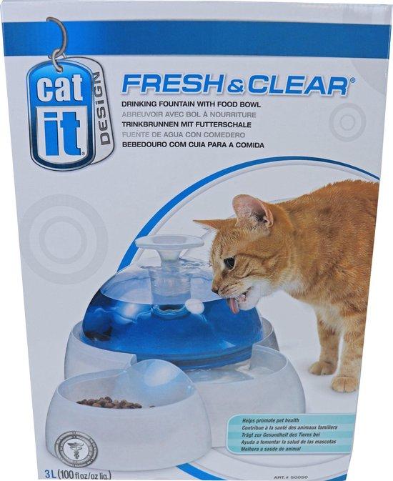 Cat-it drinkfontein fresh & clear 3l drinkfontein met voerbakje