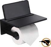 El suvon®  Toiletrolhouder met plankje - WC Rolhouder Zwart - Toilet Paper Holder - Toiletrolhouder 3M Zelfklevende Pad