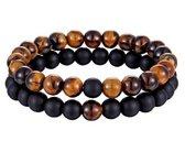 Armband - heren – kralen – dubbel snoer – bruin tijgeroog en zwart mat - Sorprese - natuursteen - rond - elastisch - 20-22 cm - mannen - model F