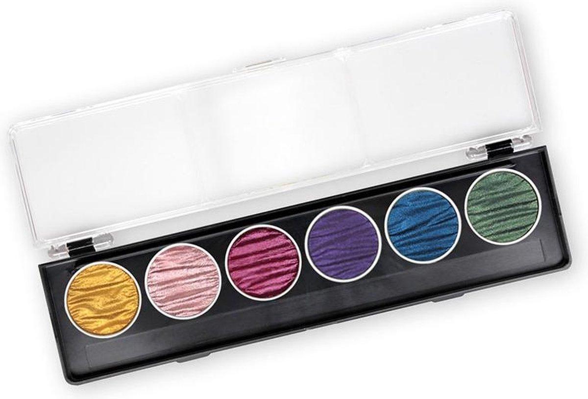 """Finetec / Coliro 6 Pearlcolors Set Watercolor Napjes """"Rainbow"""" M710 + 2 x Aquarel Blok A4 Papier 300g/m²"""