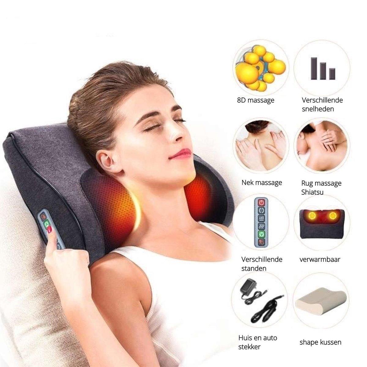 Elektrisch Shiatsu nek - en schouder massage kussen - verwarmbaar - 16 Roterende ballen - Intensitei