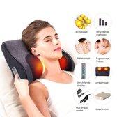 Elektrisch Shiatsu nek - en schouder massage kussen - verwarmbaar - 16 Roterende ballen - Intensiteit variabel - Apparaat geschikt voor Nek/ Schouders/ Rug/ Benen/ buik/ voeten - Zwart
