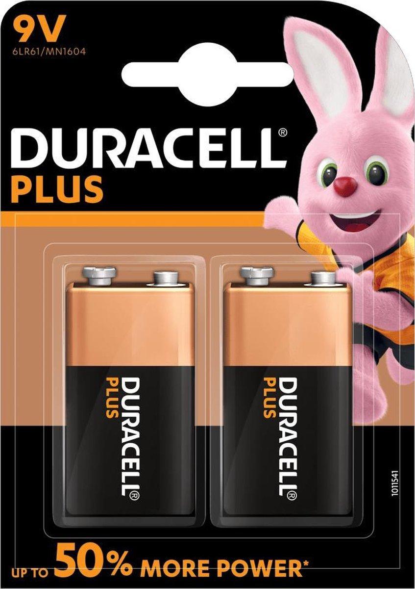 Duracell Plus alkaline 9V-batterijen, verpakking van 2