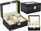 LOUZIR Luxe Horloge Box Geschikt voor 3 Horloges Zwart – Horloge opbergdoos – Horloge doos