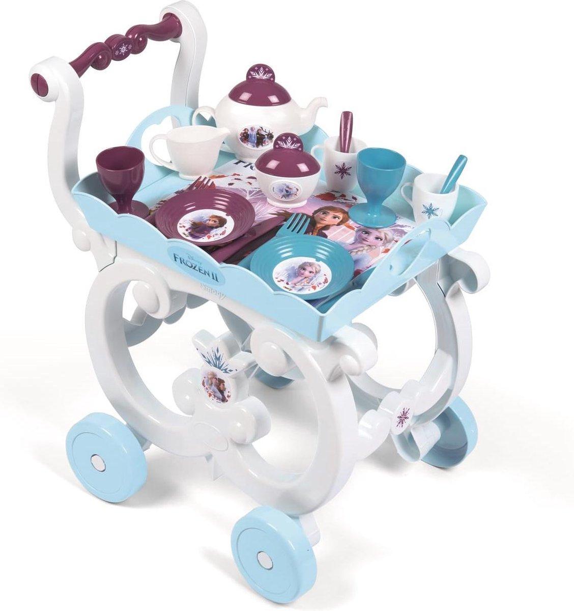 Frozen theeservies dessertenkar op rolwagen | theaset on trolley | Ensemble desserte XL avec dinette service à thé et plateau amovible