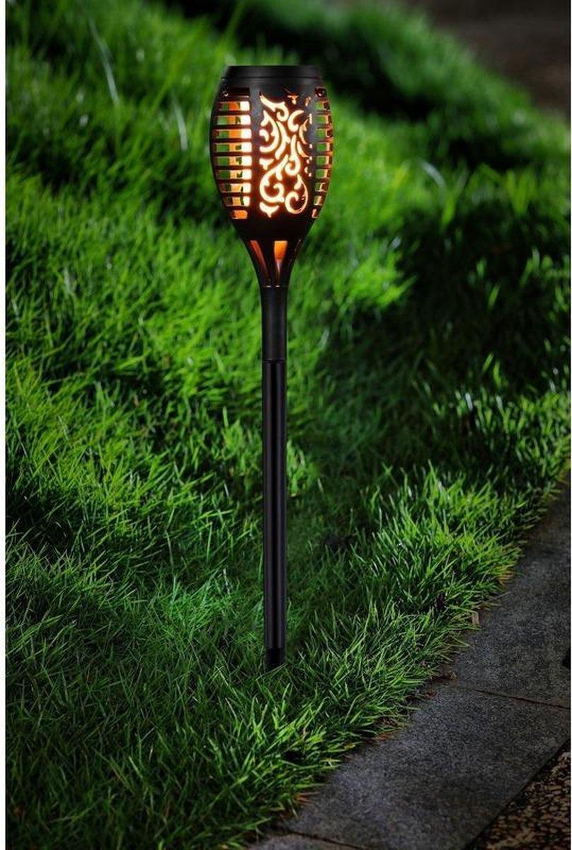 Tuinlamp solar fakkel / toorts met vlam effect 48,5 cm - sfeervolle tuinverlichting / tuinfakkel op