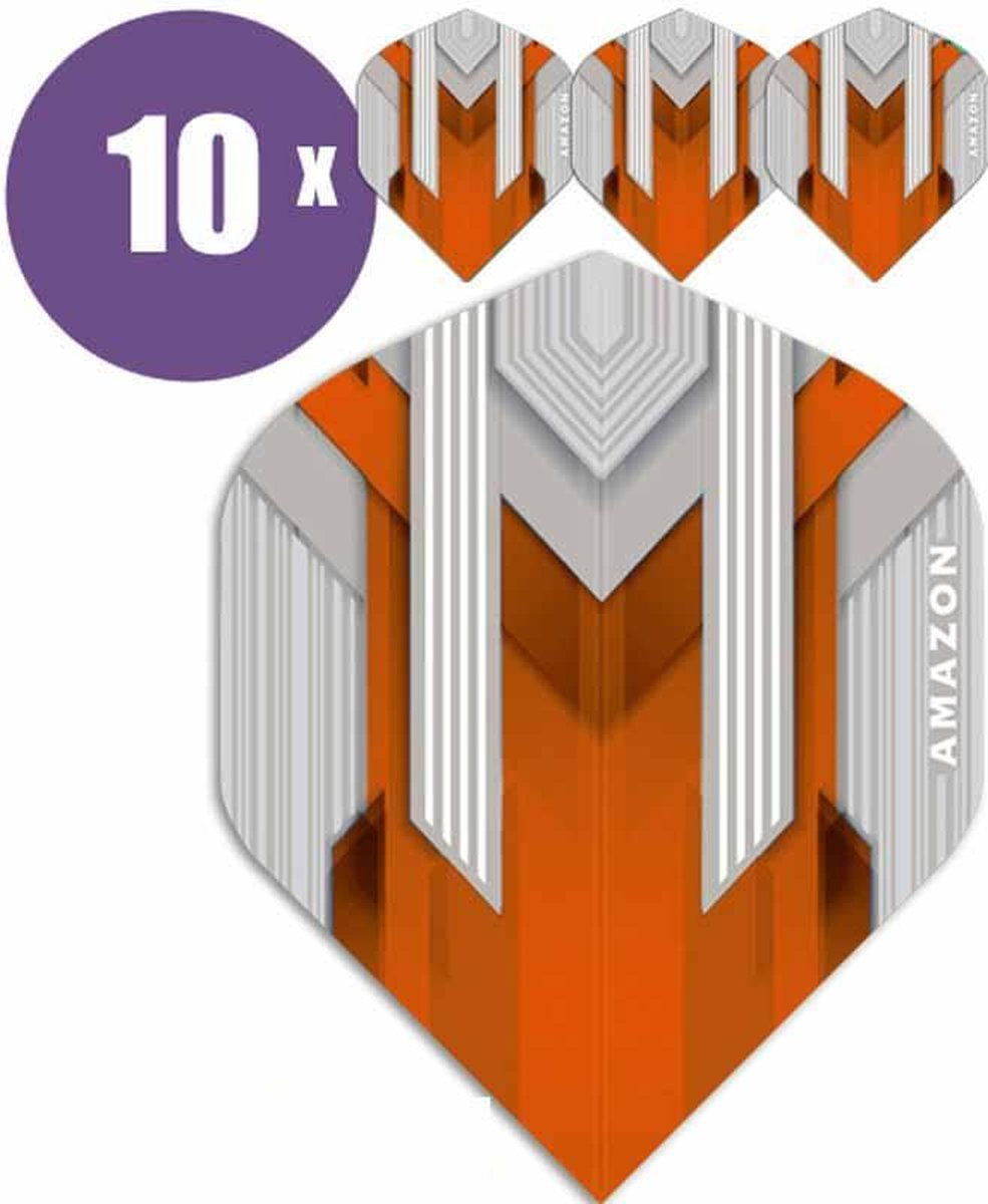 ABC Darts Flights - Amazon silver Oranje - 10 sets (30 st.) Dart Flights