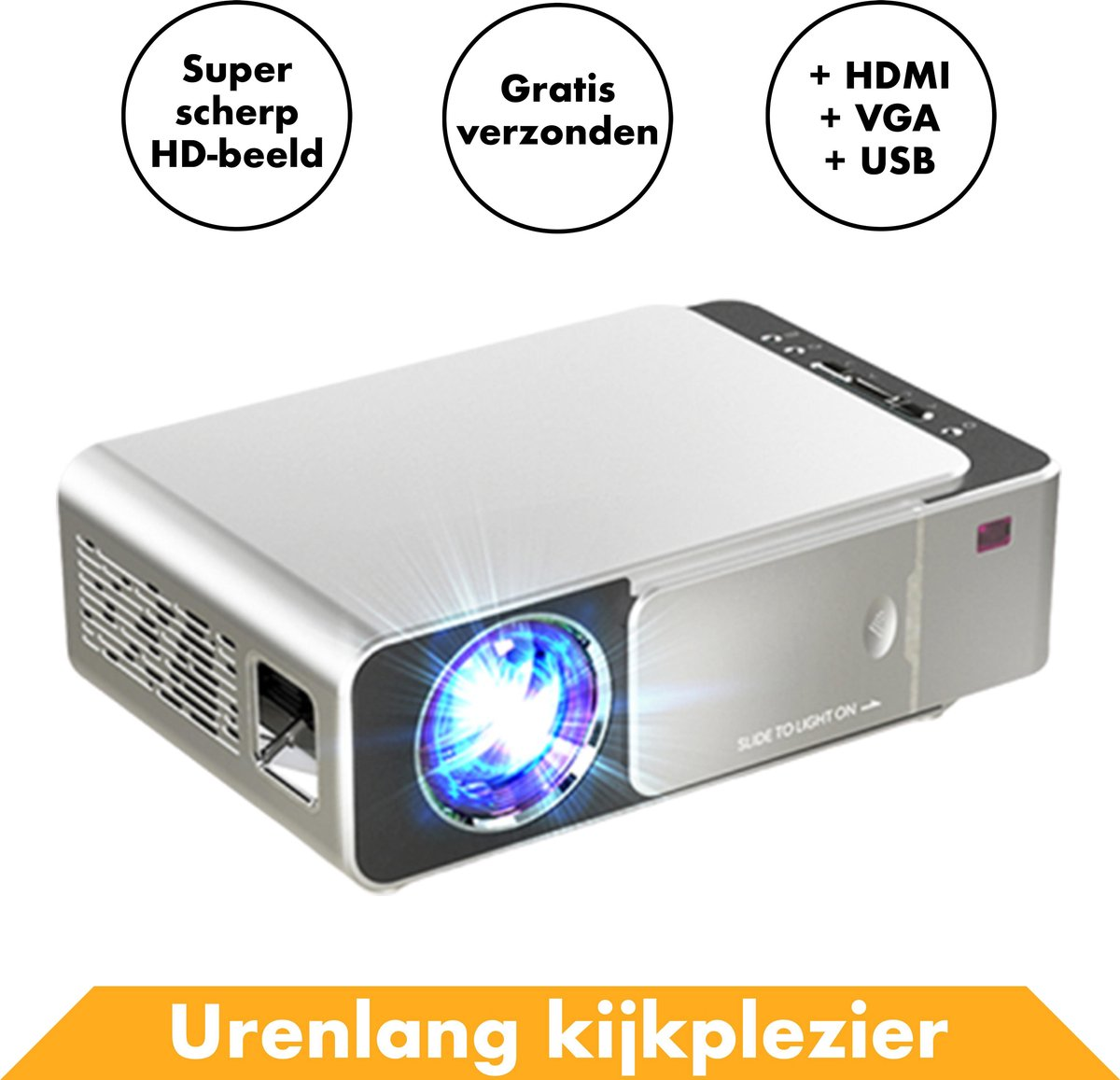 Beamer projector Full HD van In Round - Compacte Videobeamer – Draagbare / Portable mini TV – Pocket