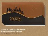Luxe kerstkaarten met enveloppen, Dorpje in de heuvels - 10 stuks