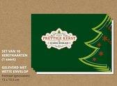 Luxe kerstkaarten met enveloppen, Sierlijk op donkergroen - 10 stuks