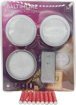 LED push light inclusief batterijen met afstandsbediening - Dimmen mogelijk - Grijs - Led druk lamp - Led spotjes - Zelfklevende led druklampjes - Led voor in de keuken - Led verlichting interieur - led verlichting voor op de boot - Led voor kasten