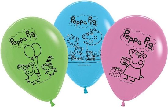 25x Peppa Pig ballonnen versiering voor een Peppa Pig themafeestje - thema feest ballon kinderfeestje/verjaardag blauw/roze/groen