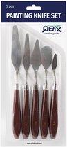 QBIX Paletmessen Set - 5 stuks metalen paletmessen met houten handvat voor schilderen, acrylverf, verven, kunst & hobby