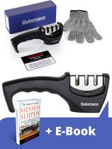 Dykemann messenslijper - doortrekslijper - 3 verschillende slijpkoppen - antislip voet - RVS - met anti-snij handschoen & E-Book