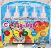 DIY 5 Kleuren Tie Dye  - Complete verfset voor je kleding en textiel - Regenboogkleuren - Hoogwaardige kwaliteit - Kindvriendelijk - Rood, Geel, Groen, Turquoise en Oranje - Incl. handschoenen en elastiekjes - Doe het zelf
