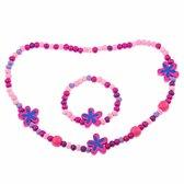 Fako Bijoux® - Kinderketting en Armband - Hout - Bloemetjes Roze