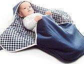Babydeken Coco, wikkeldeken en wrapper, pasgeboren tot 9 maanden, zacht katoen, 85 * 85 cm, Vichy blauw
