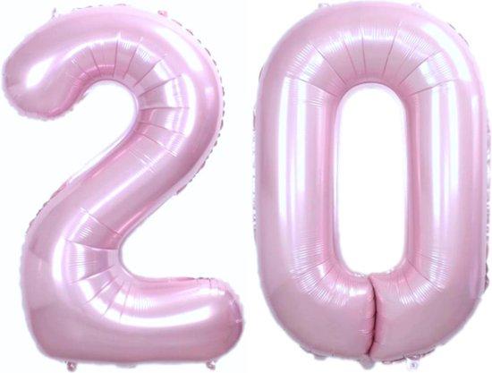 Folie Ballon Cijfer 20 Jaar Roze 36Cm Verjaardag Folieballon Met Rietje