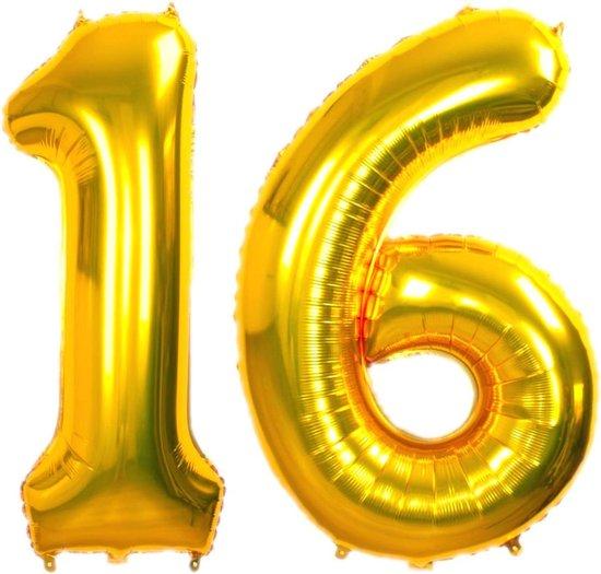 Folie Ballon Cijfer 16 Jaar Goud 36Cm Verjaardag Folieballon Met Rietje