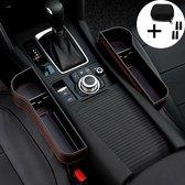 LifeGear Luxe Autostoel Organizer - Met Munthouder en Zelfklevende Klittenband  - Auto organizer autostoel - Opbergvakken auto - Auto bekerhouder/telefoonhouder - 2 stuks (Links-Rechts) - Zwart
