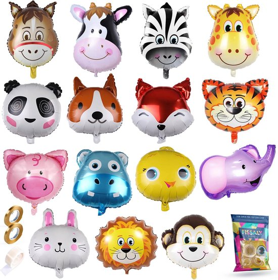 Fissaly® 15 Grote Dieren Latex Ballonnen met Lint – Feest Versiering – Kinderfeestje – Jungle Decoratie