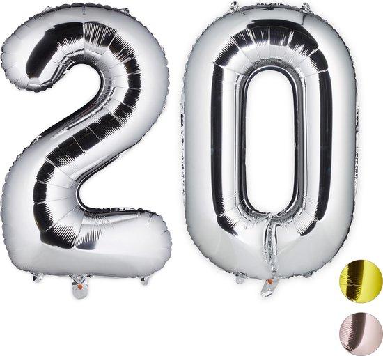 relaxdays 1x folie ballon 20 - cijferballon - verjaardag - decoratie - XXL - zilver
