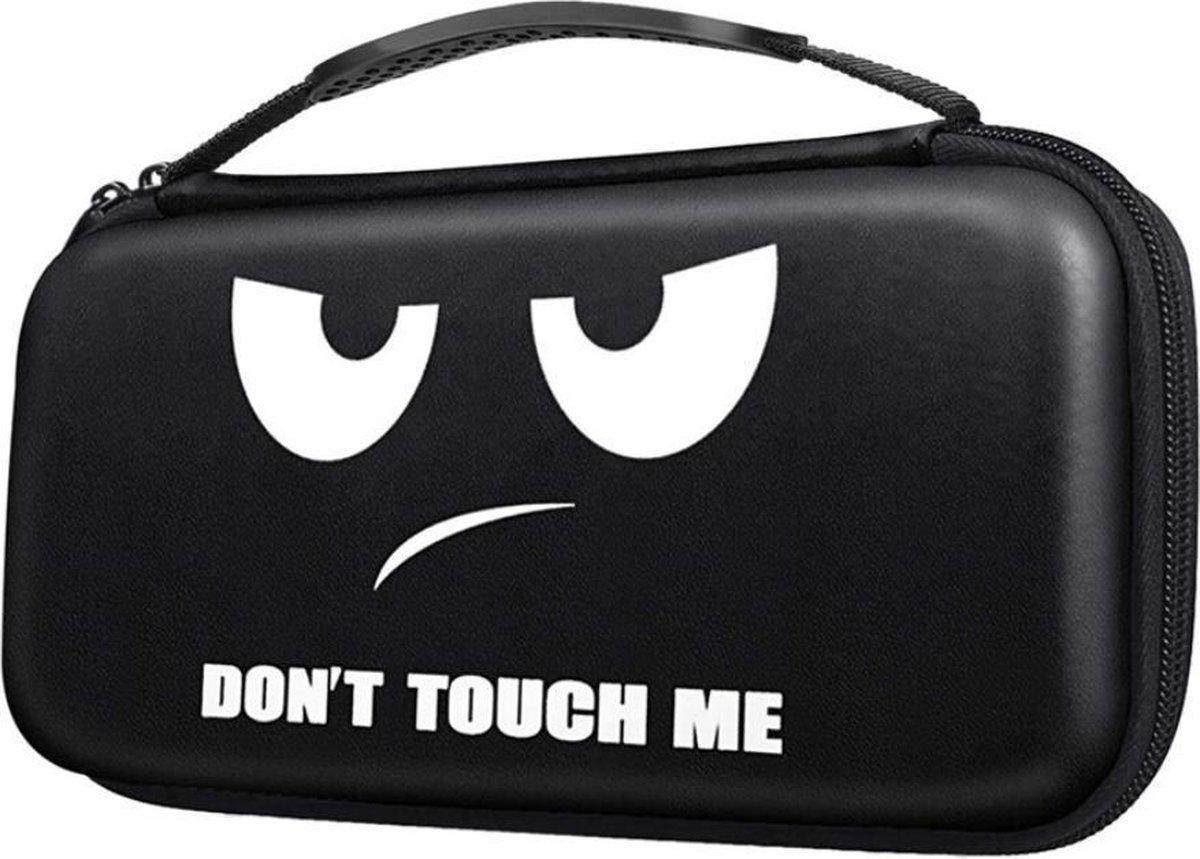 Nintendo Switch Opberghoes - Beschermhoes - Hard Case - zwart don't touch me -print