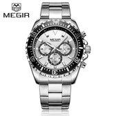 Megir Quartz horloge Chronograph met Datum 3ATM Nikkel/zilver