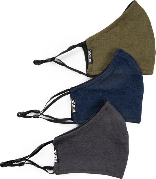 Reeva - katoenen mondkapjes - mondmasker - set van 3 (groen, grijs, blauw)