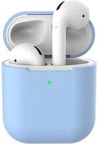 Apple AirPods Siliconen - Case - Koptelefooncases - Cover - Hoesje - Speciaal voor Apple AirPods 1 en 2 - Lavendel Blauw