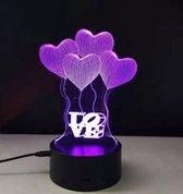 Decoratieve 3D lamp- romantisch ballonnen/LOVE- hologram in 7 kleuren