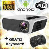 Full HD beamer / 1080p projector + Android 7.1 + Wifi +Digital Keystone + Phone mirroring + Bluetooth + GRATIS keyboard!