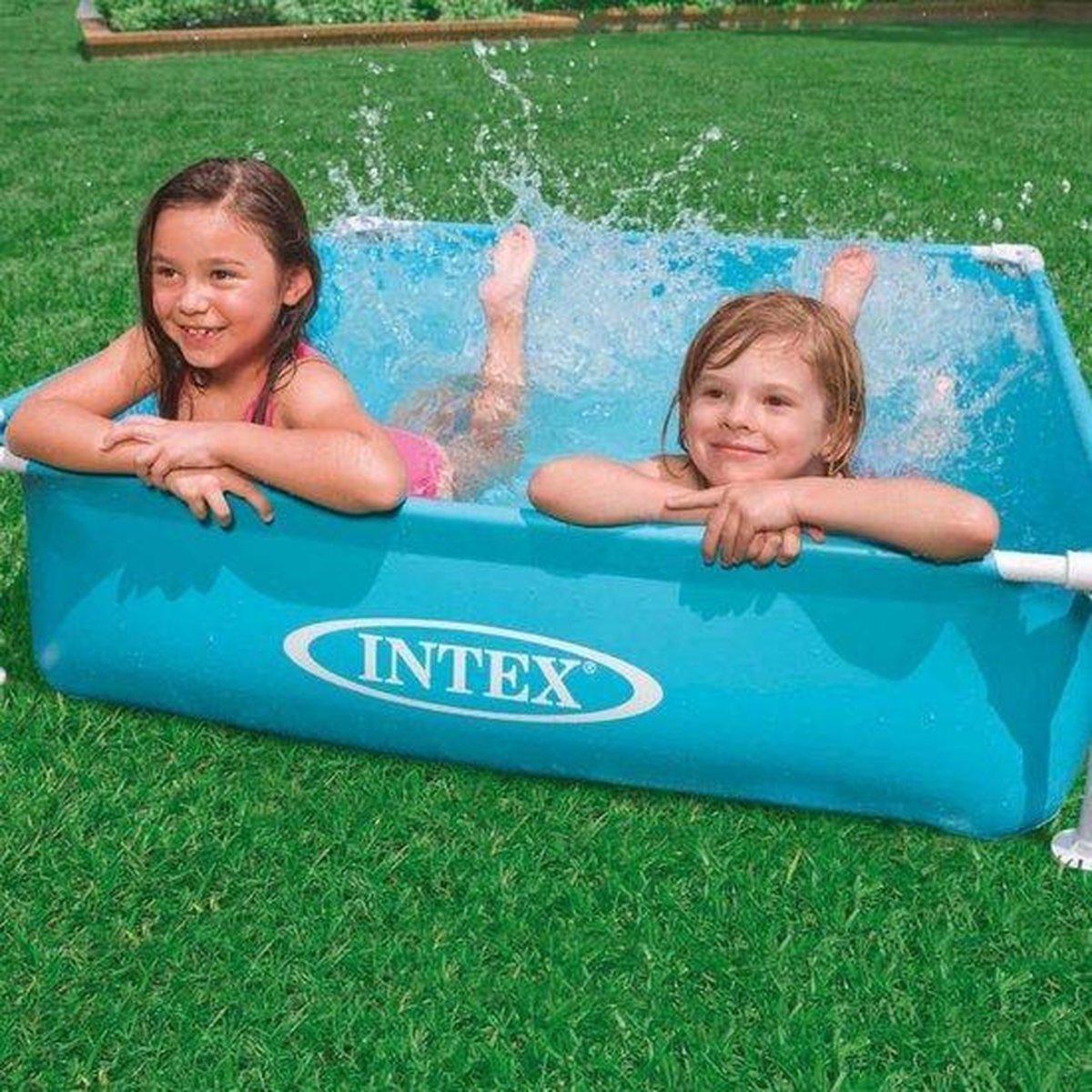 intex zwembad mini opzet zwembad frame | blauw | 122x122 cm | kinderzwembad | bassin | vierkant | vanaf 3 jaar |buiten | (Incl schroefventiel en reparatiesetje)