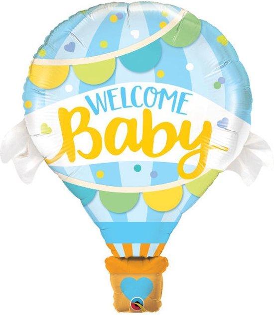 Welcome Baby Grote Luchtballon Welkom Ballon - Versiering- Decoratie - Geboorte Jongen - Blauw - 80 cm groot - Inclusief opblaasrietje