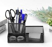 Pennenbak met 3 vakken voor pennen, potloden, notitieblok / post it en paperclips etc - Mesh bureau organizer - pennenbakje van metaal / gaas - pennenhouder - bureau organizer Kleur: Zwart – Decopatent®
