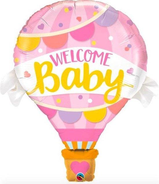 Welcome Baby Grote Luchtballon Welkom Ballon - Versiering- Decoratie - Geboorte Meisje - Roze - 80 cm groot - Inclusief opblaasrietje