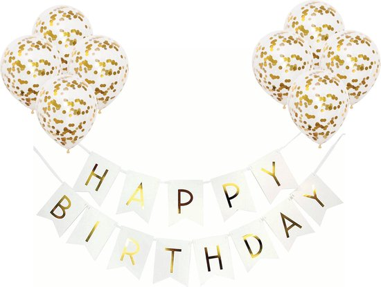 Slinger Wit & Goud met helium ballonnen - Verjaardag