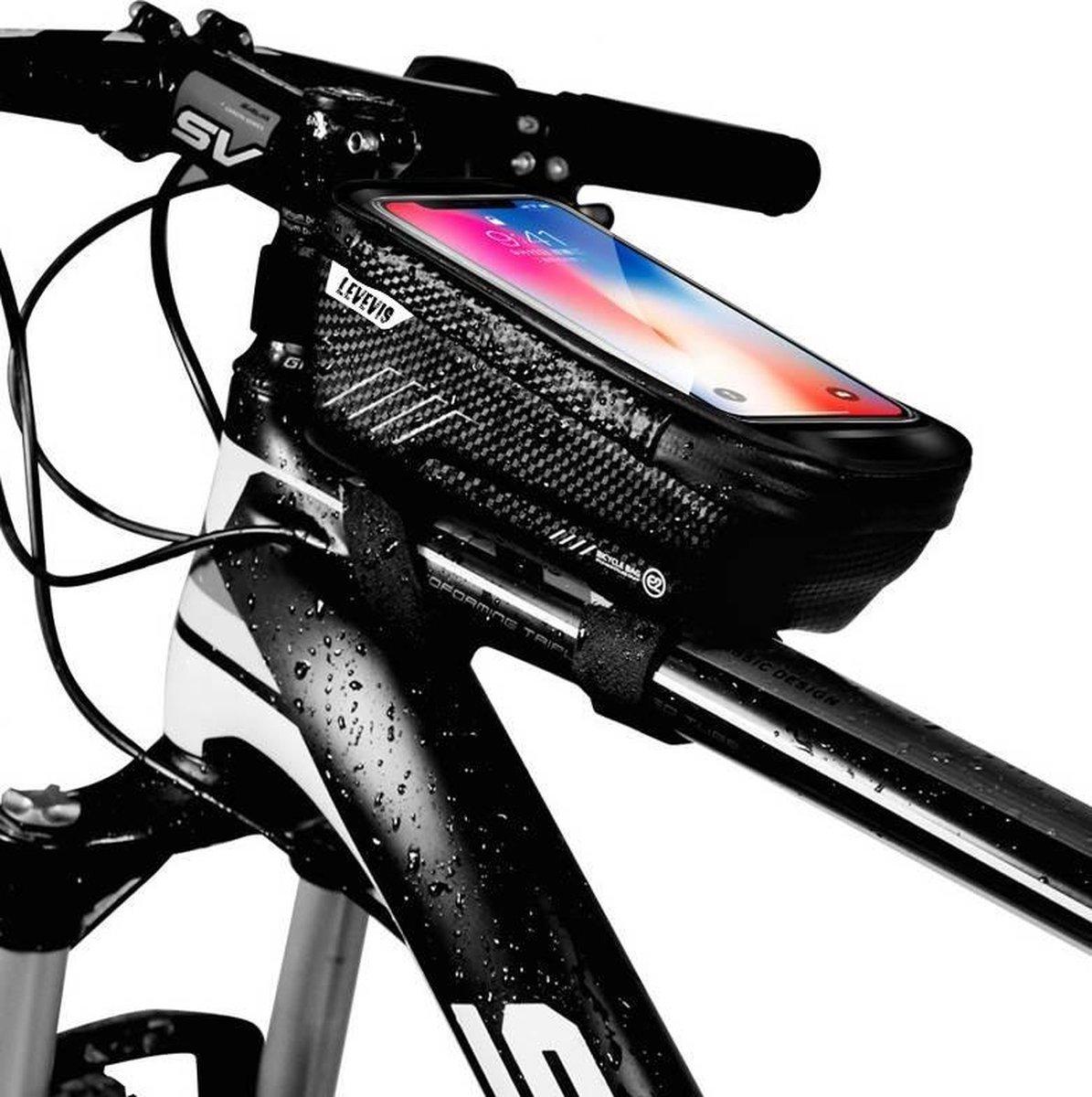 levevis: frame fietstas - mobielhouder -  telefoonhouder fiets - MTB zadeltas -elektrische fietsen -
