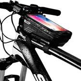 levevis: frame fietstas met polariserende laag tegen de zon - mobielhouder -  telefoonhouder fiets - MTB zadeltas -elektrische fietsen - waterdicht- mobielhouder tot 6.8 inch -160ml - zwart