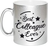Best colleague ever koffiemok / theebeker - 330 ml - zilverkleurig - carriere switch / VUT / pensioen - bedankt cadeau collega / teamgenoot