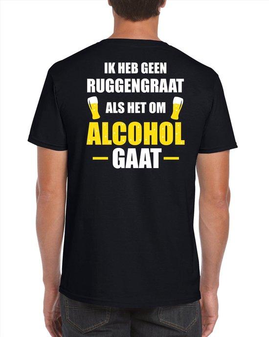 Oktoberfest Geen ruggengraat als het om alcohol / drank gaat fun t-shirt - zwart met wit en gele letters - voor heren - bier drink shirt kleding / outfit / themafeest L