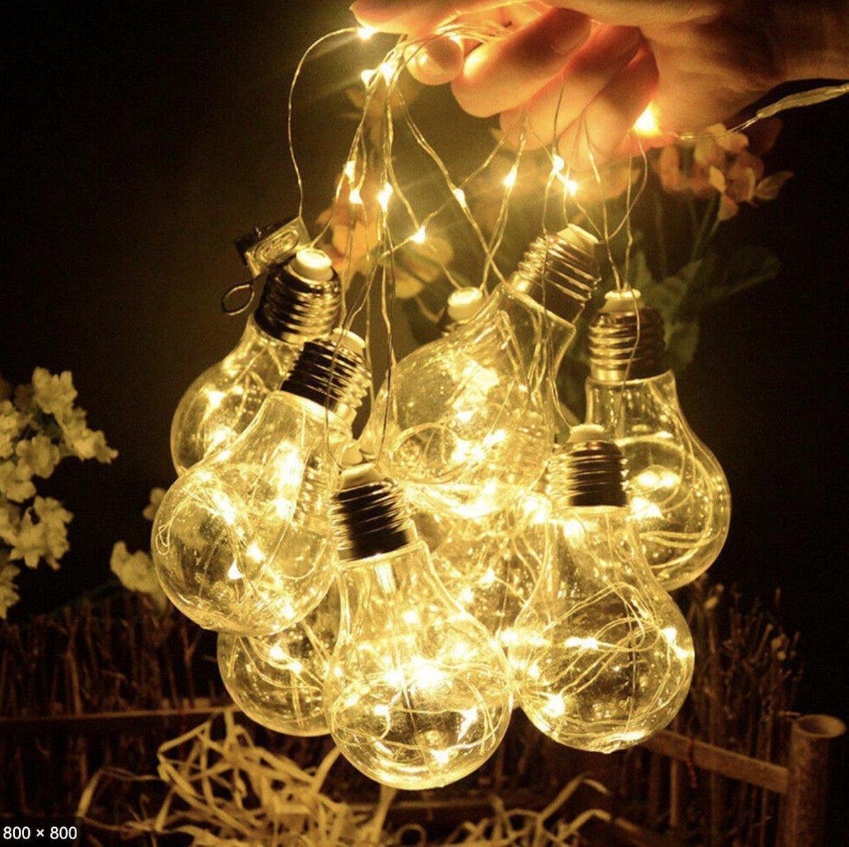 J-Pro Sfeer- en Tuinverlichting op Zonne-Energie - 10 Magic Lampen 100 LED 7m - Lichtsnoer - Slinger