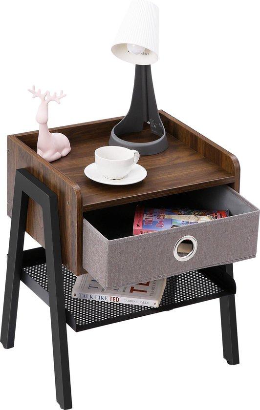 QUVIO Nachtkastje met lade hout en staal / Industrieel / Bijzettafel / Slaapkamer meubel - Donkerbruin en zwart