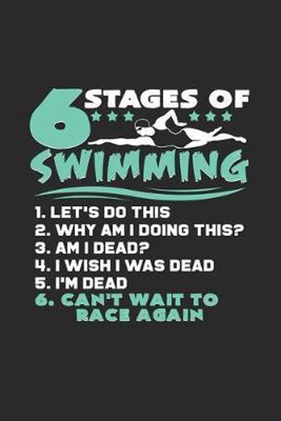 6 Stages of swimming: 6x9 Swimmingl - grid - squared paper - notebook - notes
