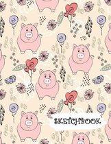Sketchbook: Pink Cartoon Pig Themed Fun Framed Drawing Paper Notebook