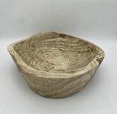 Mica Decorations Pia pot - Houten schaal - Decoratieve schaal - Fruitschaal - 23 x 22 x 6,5 cm - bruin