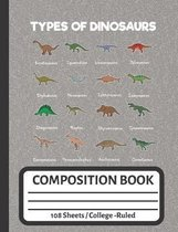 Types of Dinosaurs: Composition Notebook for Dinosaur Lovers