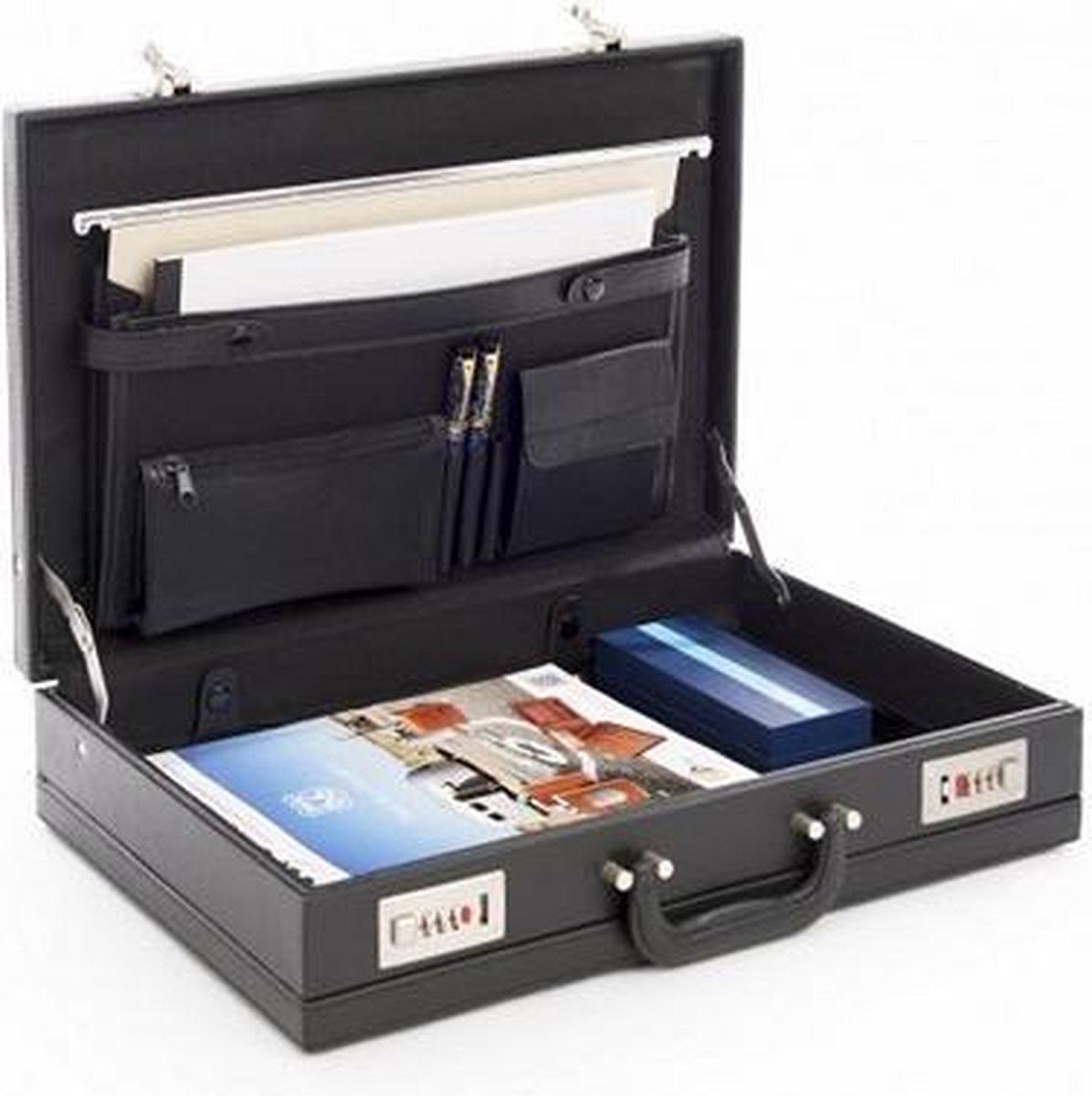 Attachékoffer Zwart - Kunstleer - Documentenkoffer - Cijferslot - Laptopkoffer - A4 Formaat - Attach