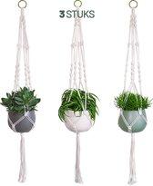 Gadgy Plantenhanger Set van 3 – Macramé stijl hanger - Handgeweven katoen