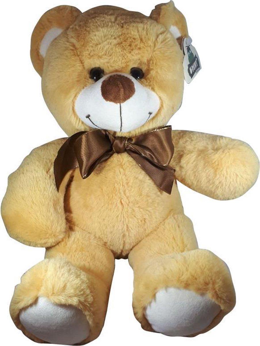 Teddybeer Met Strik Lichtbruin 38cm